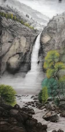 廖麗玲 Liling-湧泉潺潺 Jagged Mist(捲軸)