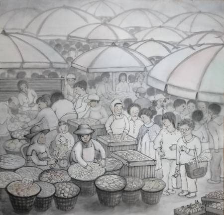 廖麗玲 Liling-清晨市集 Market in Morning Mist.
