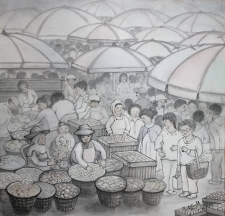 廖麗玲 Liling-清晨市集 Market in Morning Mist.