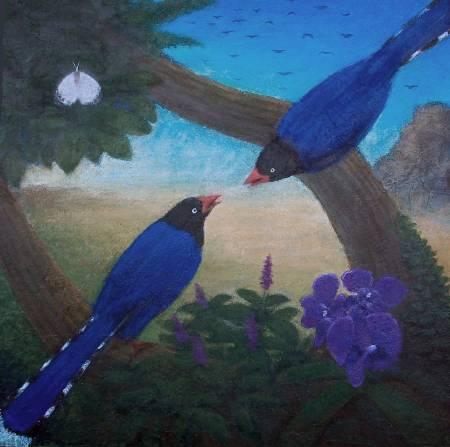 顏順吉-藍天  藍鵲  蘭花