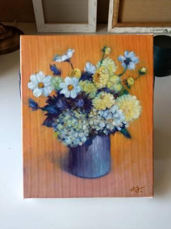 魏安杰-橘色背景的瓶花