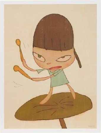 多納藝術-奈良美智 乘著冬葉遊行限量海報 MARCHING ON A BUTTERBUR LEAF (無框)