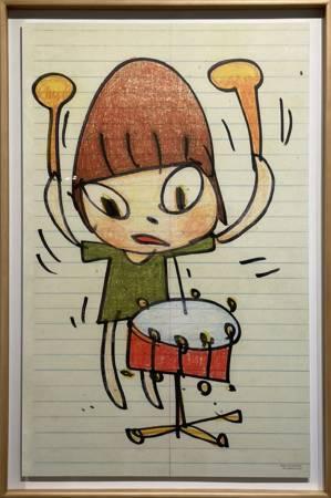 多納藝術-(含框)奈良美智 小鼓手限量海報 Banging the Drum