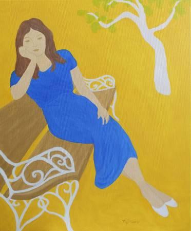楊玉金-長椅上的藍衣女子