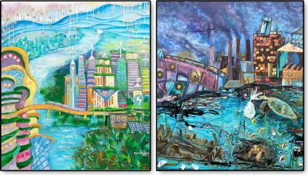 葛拉娜-Eco city versus Industrial city (兩件一組)