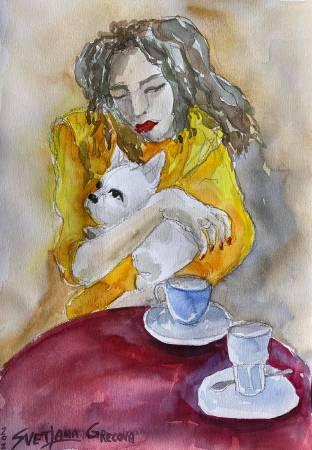 葛拉娜-A lady with a French bulldog