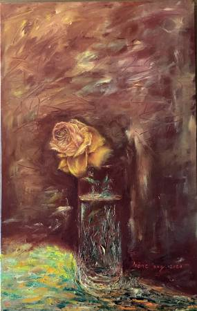 Irene W-Rose in water glass 水瓶裡的一朵玫瑰