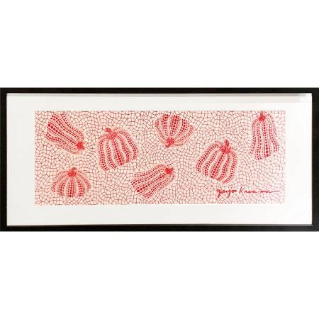多納藝術-草間彌生 經典水玉南瓜手巾 (紅、含框)