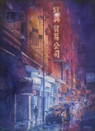 110年「璞玉發光-全國藝術行銷活動」得獎者作品線上展售-雨夜街景