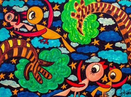 劉麗-鳥兒快樂地在星空 中飛翔Happy Bird Fly In The Starry Night