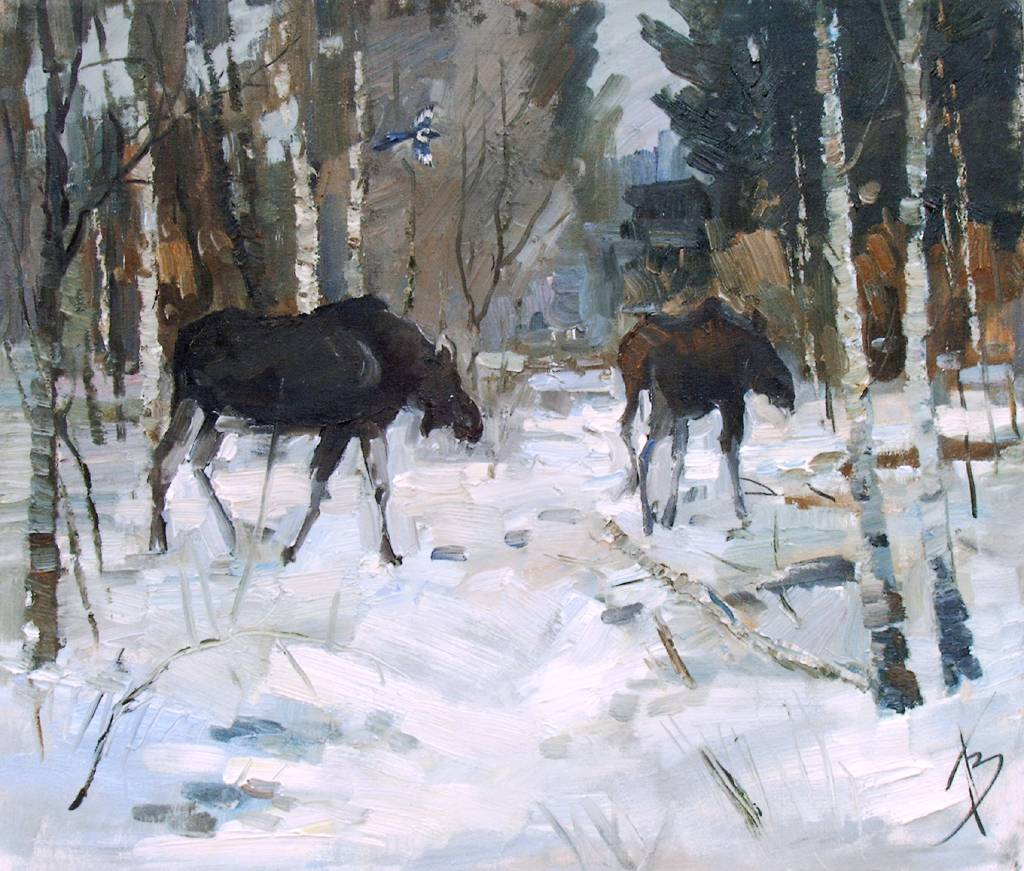 Pavel Veselkin-moose in the woods