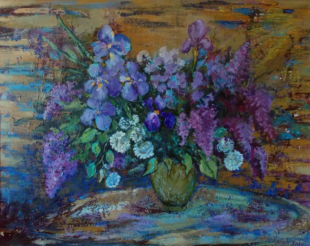 Natalia Nysh-Spring bouquet (seringes and irises)