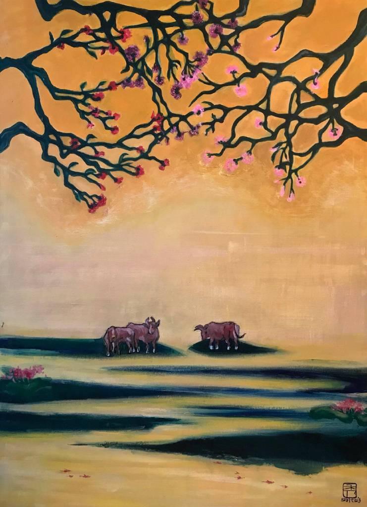 阿秀子-三色樹下的牛群