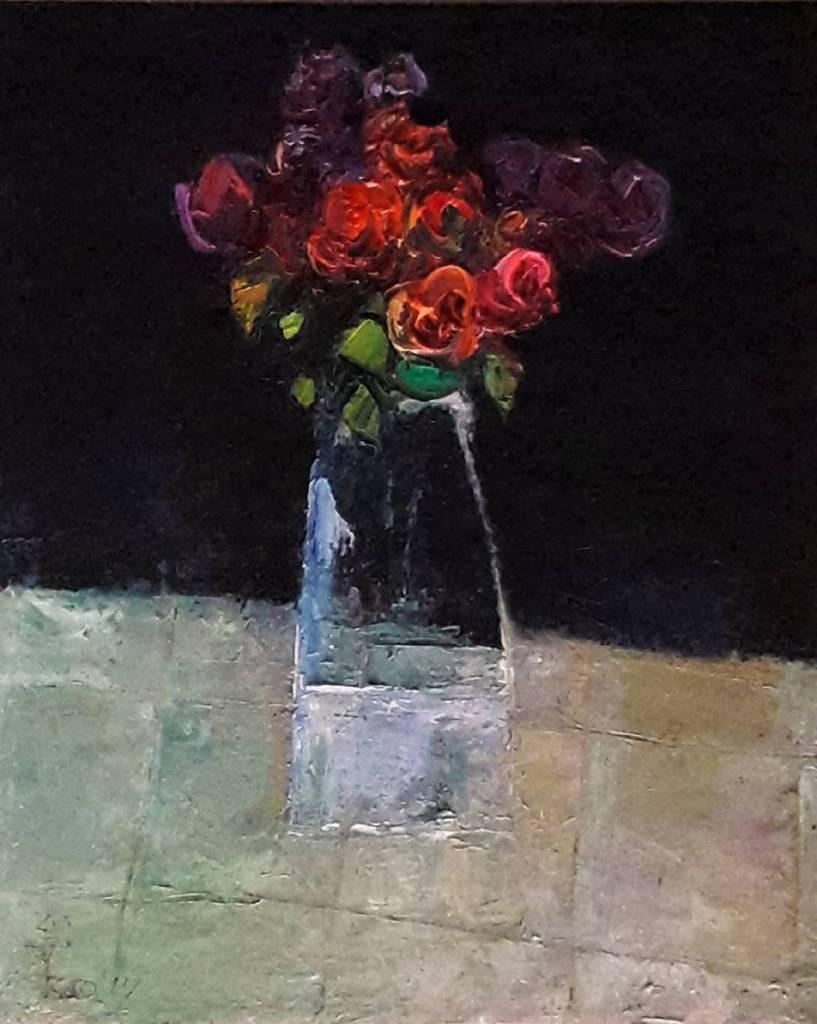 高正幸-方格桌巾上的花束