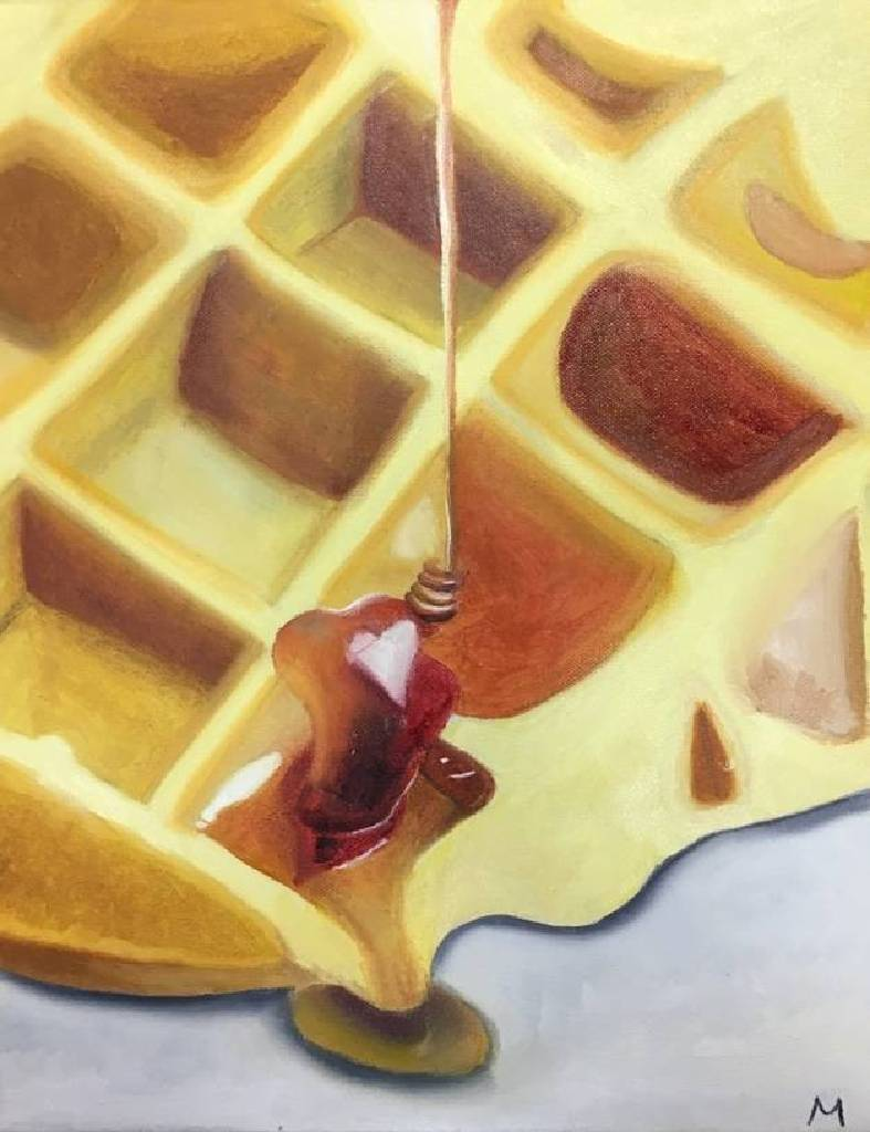 Minnie-Waffle with honey