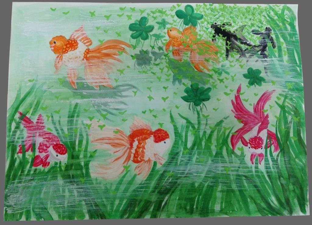 許煥林-金魚優游在綠意盎然的池塘