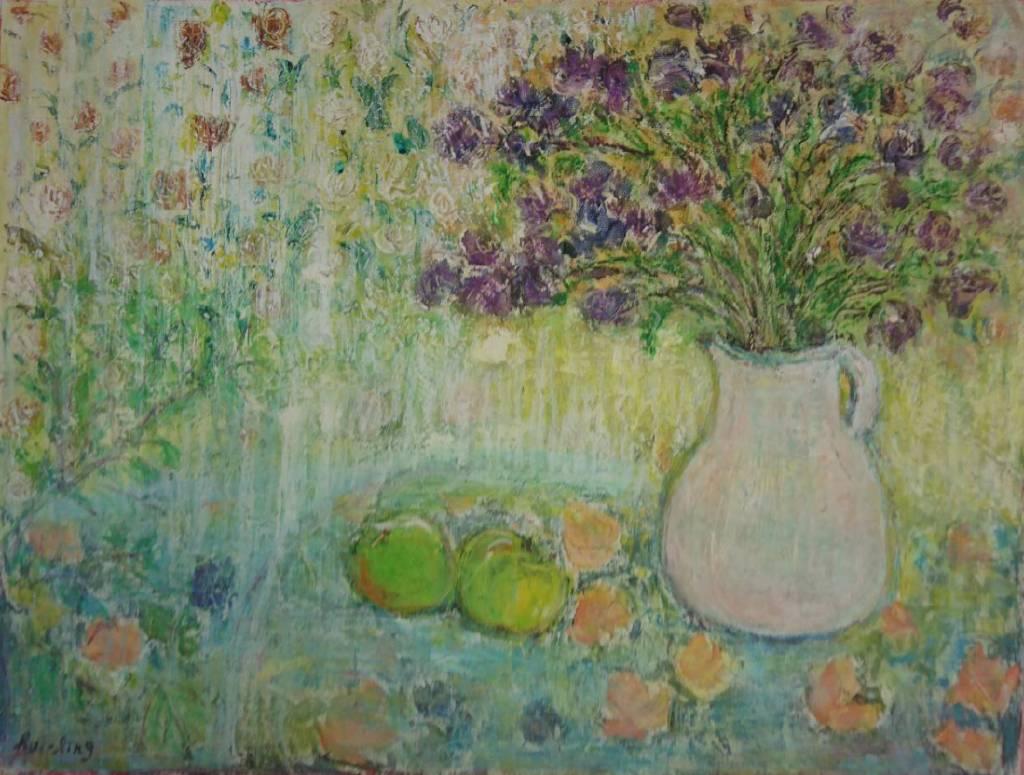 薈伶-窗簾前的瓶花