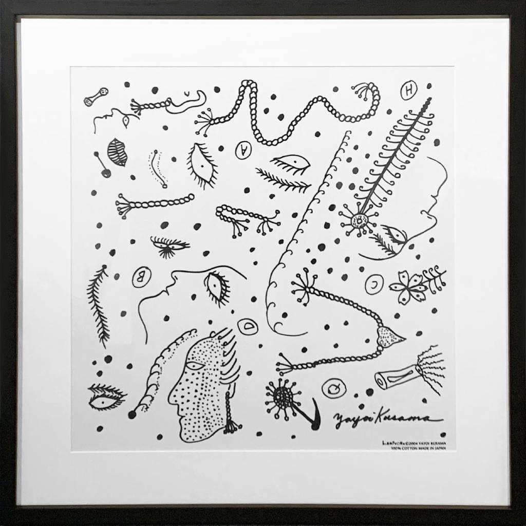 多納藝術-草間彌生 描繪臉譜方巾(白、含框) Yayoi KUSAMA Bandana (white, framed)