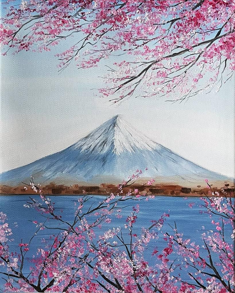 艾瑪 Amma-《櫻花與富士山》Cherry Blossom and Fuji Mountain