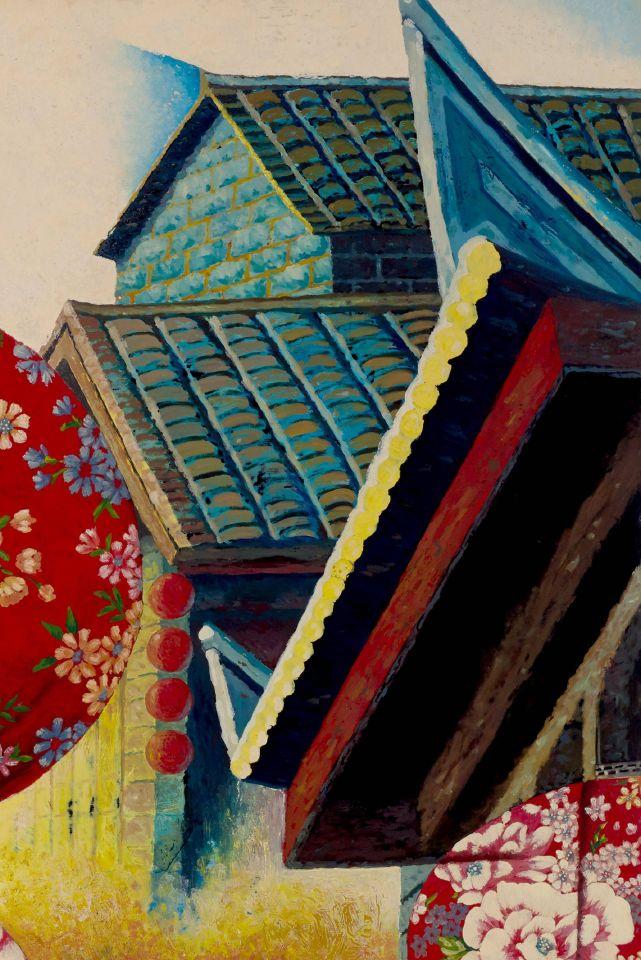 以後立體畫派矛盾透視法詮釋不同視角的空間,利用立體派透視法切割出虛實空間感。畫面盡顯斑駁浮動的色彩鋪陳及蘊藏慶典的喜悅。