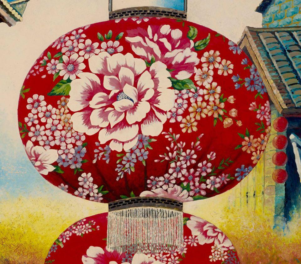 客家燈籠花紋以寫實具象為主,呈現白天光線下燈籠細緻的質感。