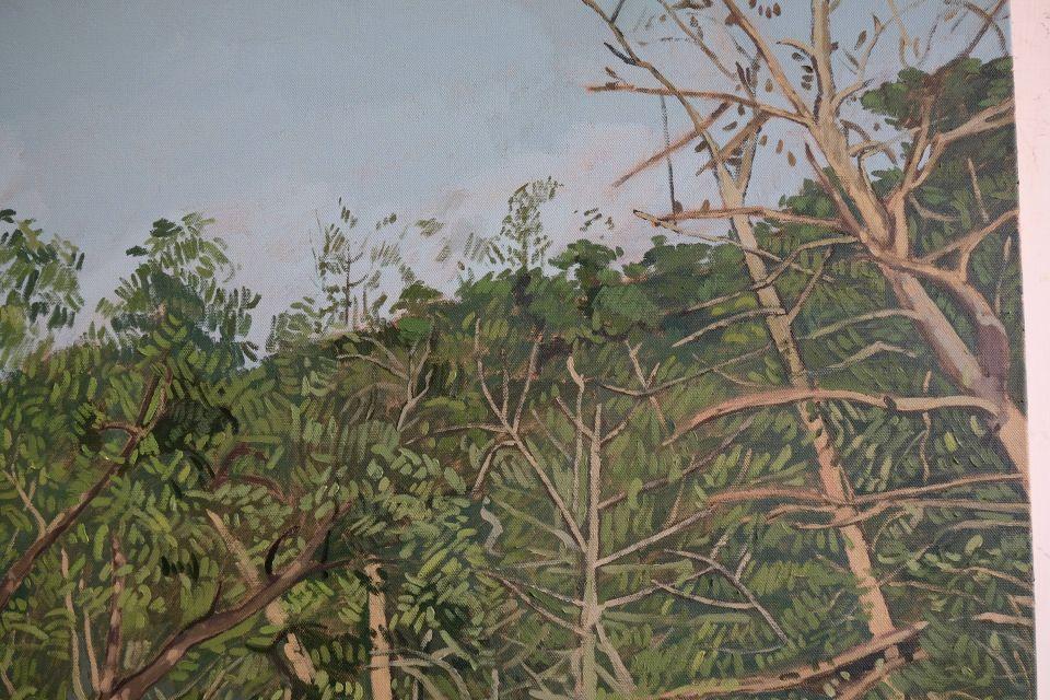 loosen paintbrush to create the trees