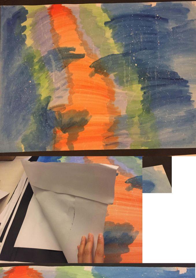 展覽時因時間關係不可裱框釘畫,所以在畫紙後貼黑紙條作為框貼在牆面上。撤展後,因怕紙疊在一起時會黏到,所以在黑框後黏上圖畫紙,寄出前會將白邊處理掉。圖上方有三處繪畫時留下的無痕膠帶空白處,角落有一處。